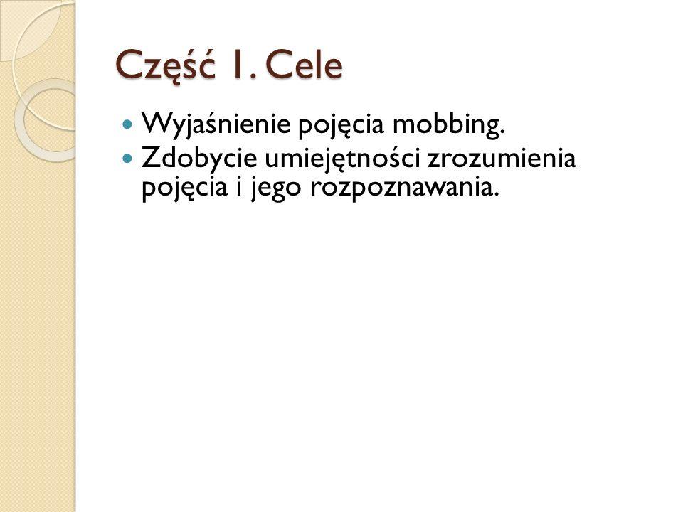 Część 1. Cele Wyjaśnienie pojęcia mobbing.