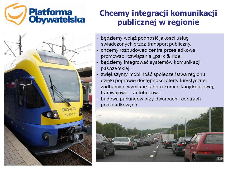 """Chcemy integracji komunikacji publicznej w regionie -będziemy wciąż podnosić jakości usług świadczonych przez transport publiczny, -chcemy rozbudować centra przesiadkowe i promować rozwiązania """"park & ride , -będziemy integrować systemów komunikacji pasażerskiej, -zwiększymy mobilność społeczeństwa regionu dzięki poprawie dostępności oferty turystycznej -zadbamy o wymianę taboru komunikacji kolejowej, tramwajowej i autobusowej."""