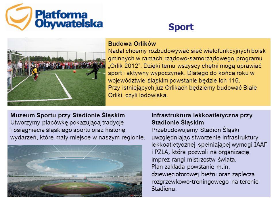 """Sport Budowa Orlików Nadal chcemy rozbudowywać sieć wielofunkcyjnych boisk gminnych w ramach rządowo-samorządowego programu """"Orlik 2012"""". Dzięki temu"""