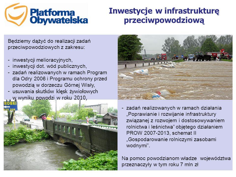 Inwestycje w infrastrukturę przeciwpowodziową Będziemy dążyć do realizacji zadań przeciwpowodziowych z zakresu: -inwestycji melioracyjnych, -inwestycj