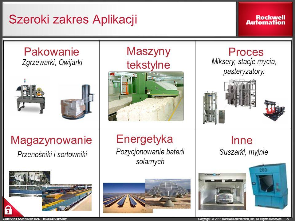 Copyright © 2013 Rockwell Automation, Inc. All Rights Reserved. COMPANY CONFIDENTIAL - Internal Use Only Szeroki zakres Aplikacji 27 Magazynowanie Prz