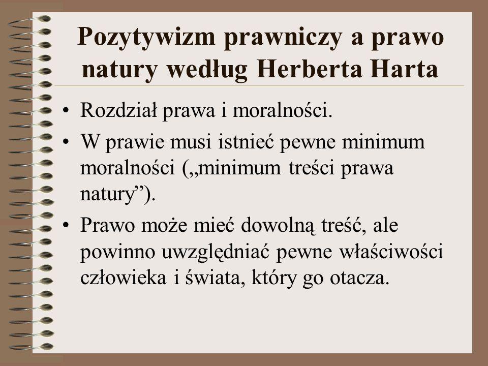 """Pozytywizm prawniczy a prawo natury według Herberta Harta Rozdział prawa i moralności. W prawie musi istnieć pewne minimum moralności (""""minimum treści"""