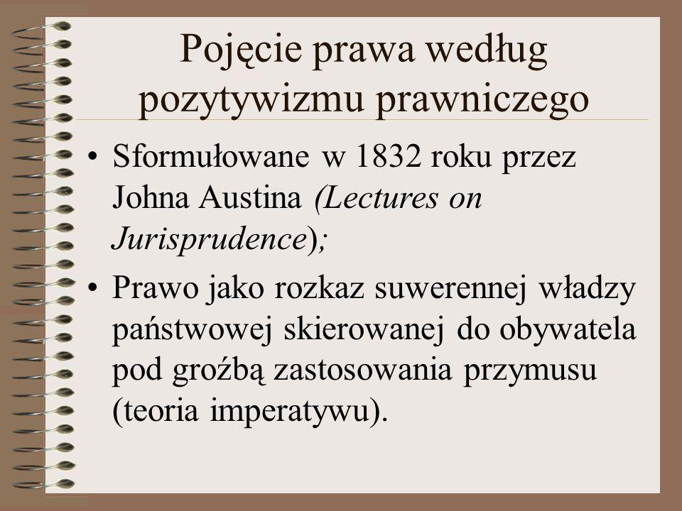 Pojęcie prawa według pozytywizmu prawniczego Sformułowane w 1832 roku przez Johna Austina (Lectures on Jurisprudence); Prawo jako rozkaz suwerennej władzy państwowej skierowanej do obywatela pod groźbą zastosowania przymusu (teoria imperatywu).
