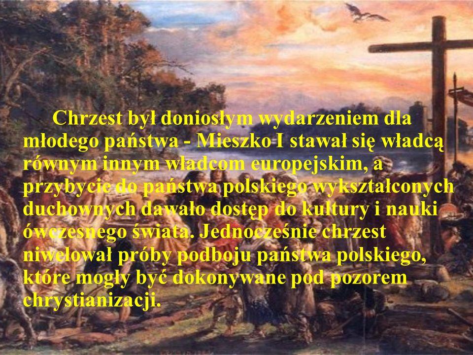 W 966 roku czeski biskup ochrzcił Mieszka I, co zapoczątkowało proces chrystianizacji ziem polskich.