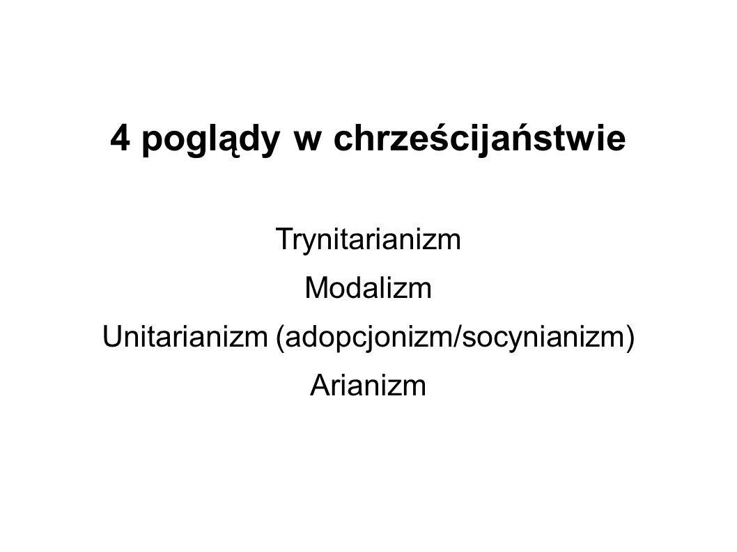 4 poglądy w chrześcijaństwie Trynitarianizm Modalizm Unitarianizm (adopcjonizm/socynianizm) Arianizm