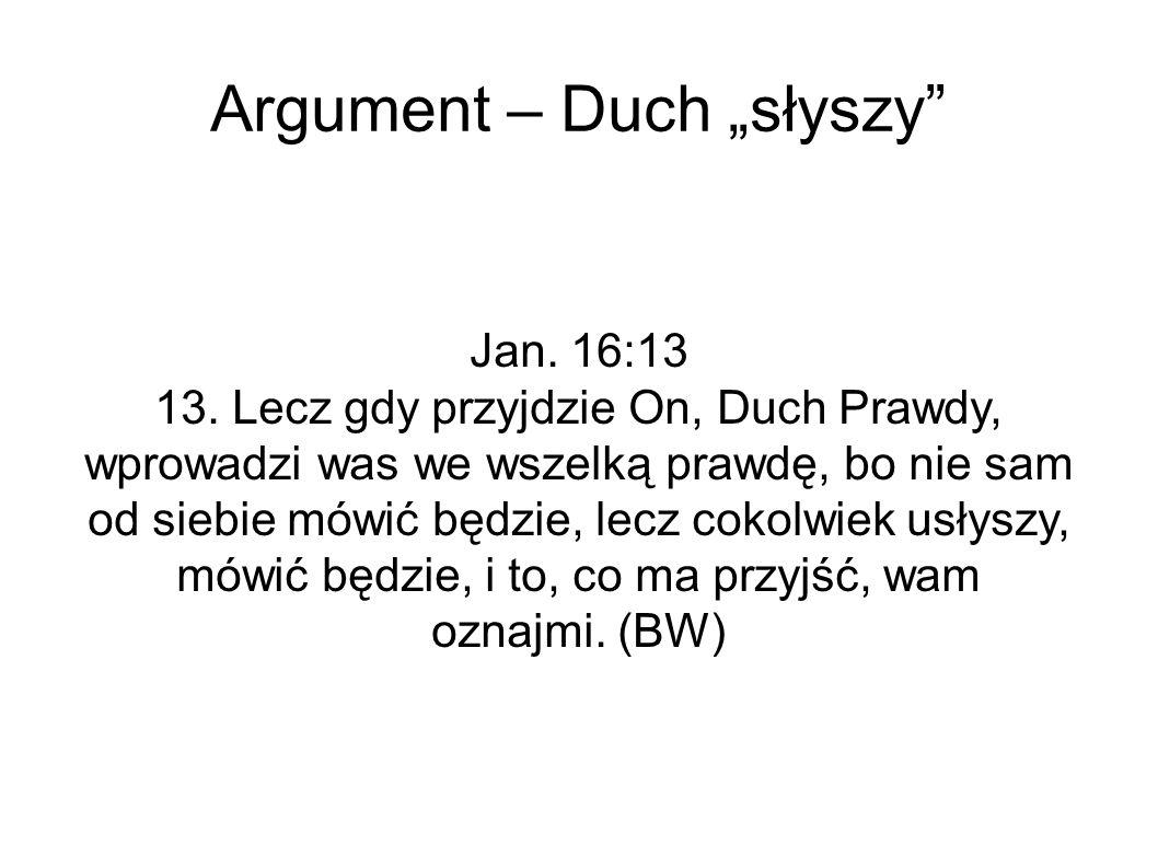 """Argument – Duch """"słyszy Jan. 16:13 13."""