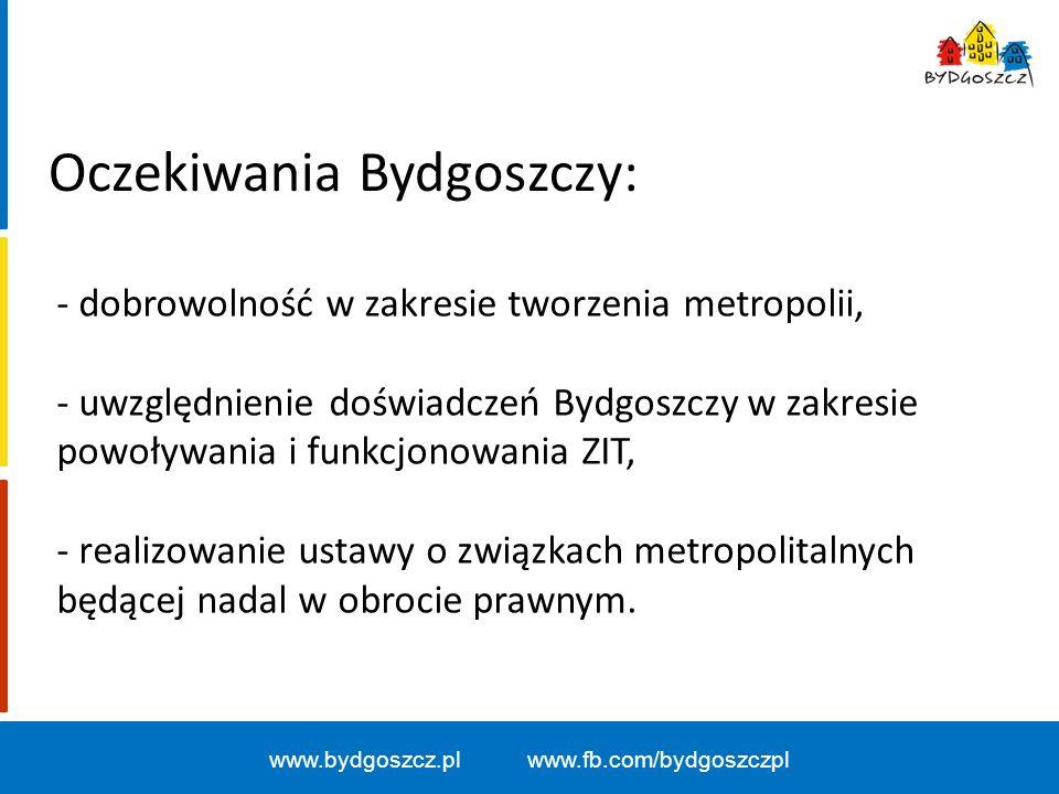 www.bydgoszcz.pl www.fb.com/bydgoszczpl Oczekiwania Bydgoszczy: - dobrowolność w zakresie tworzenia metropolii, - uwzględnienie doświadczeń Bydgoszczy