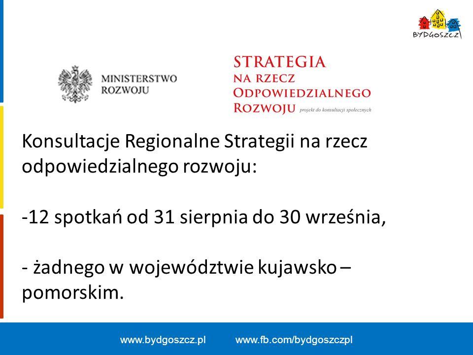 www.bydgoszcz.pl www.fb.com/bydgoszczpl Konsultacje Regionalne Strategii na rzecz odpowiedzialnego rozwoju: -12 spotkań od 31 sierpnia do 30 września, - żadnego w województwie kujawsko – pomorskim.