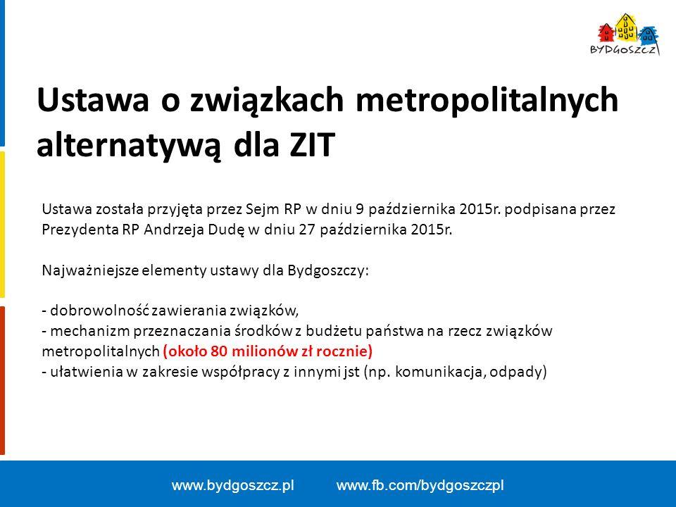 www.bydgoszcz.pl www.fb.com/bydgoszczpl Ustawa o związkach metropolitalnych alternatywą dla ZIT Ustawa została przyjęta przez Sejm RP w dniu 9 października 2015r.