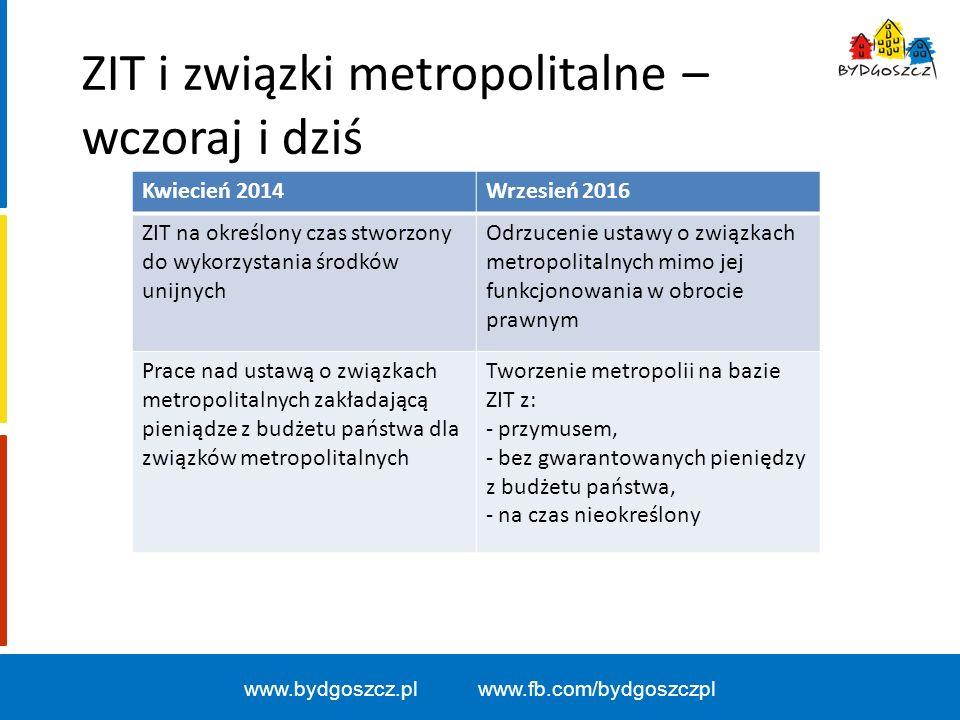 www.bydgoszcz.pl www.fb.com/bydgoszczpl Oczekiwania Bydgoszczy: - dobrowolność w zakresie tworzenia metropolii, - uwzględnienie doświadczeń Bydgoszczy w zakresie powoływania i funkcjonowania ZIT, - realizowanie ustawy o związkach metropolitalnych będącej nadal w obrocie prawnym.