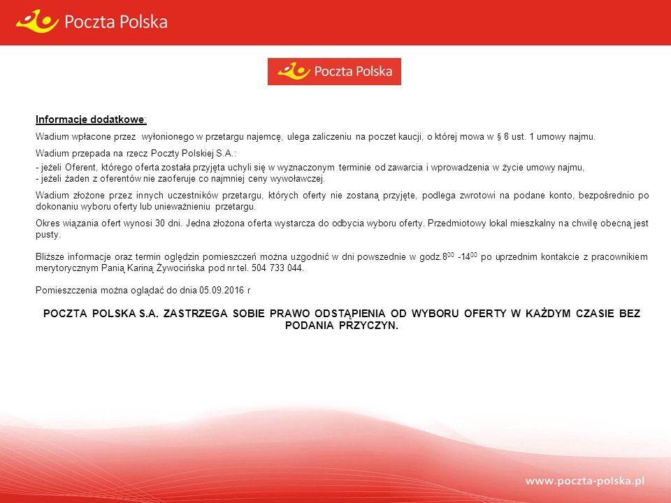 Formularz zgłoszenia uczestnictwa w przetargu Dotyczy wynajmu części nieruchomości: Lokal mieszkalny o powierzchni użytkowej 55,40 m 2 usytuowany na I piętrze w budynku PP SA w miejscowości Bydgoszcz, ul.