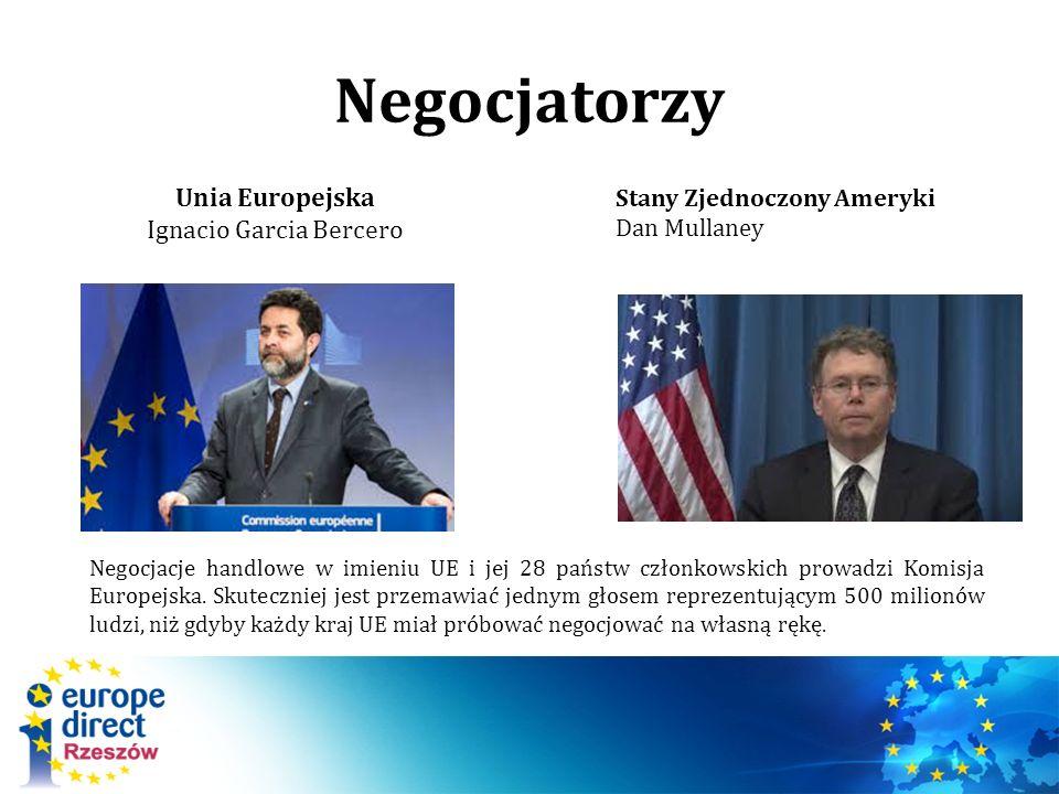 Negocjatorzy Unia Europejska Ignacio Garcia Bercero Stany Zjednoczony Ameryki Dan Mullaney Negocjacje handlowe w imieniu UE i jej 28 państw członkowskich prowadzi Komisja Europejska.