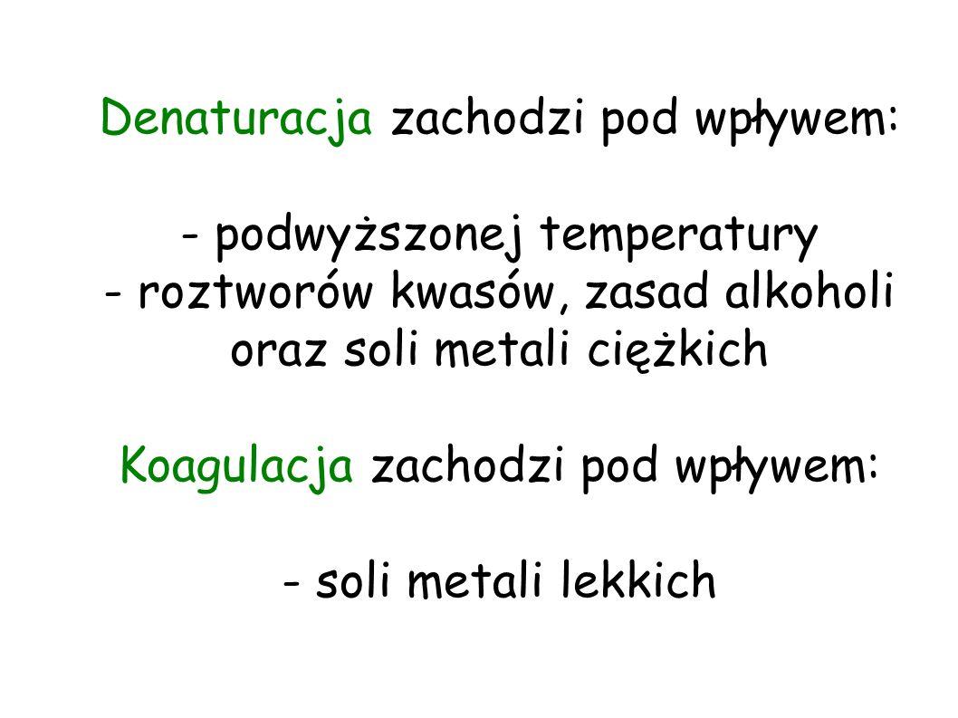 Denaturacja zachodzi pod wpływem: - podwyższonej temperatury - roztworów kwasów, zasad alkoholi oraz soli metali ciężkich Koagulacja zachodzi pod wpływem: - soli metali lekkich