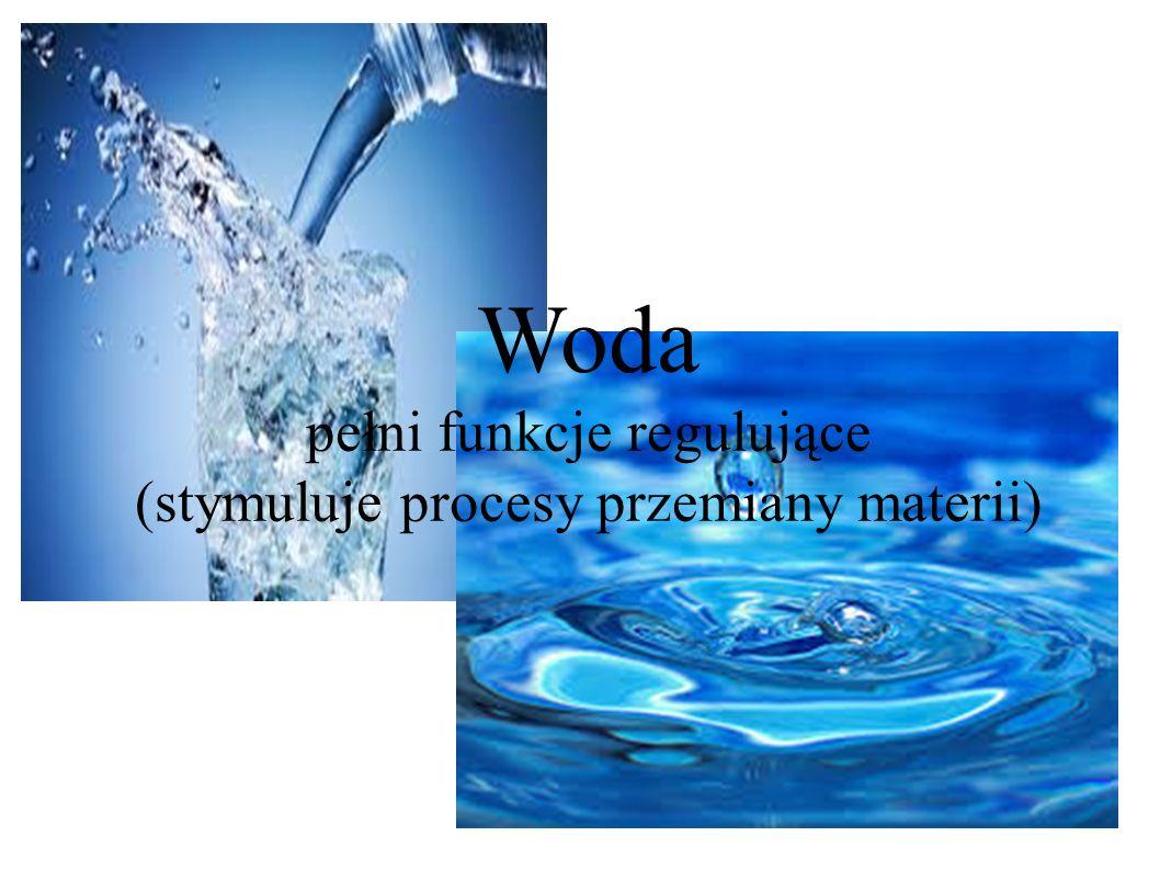 Woda pełni funkcje regulujące (stymuluje procesy przemiany materii)