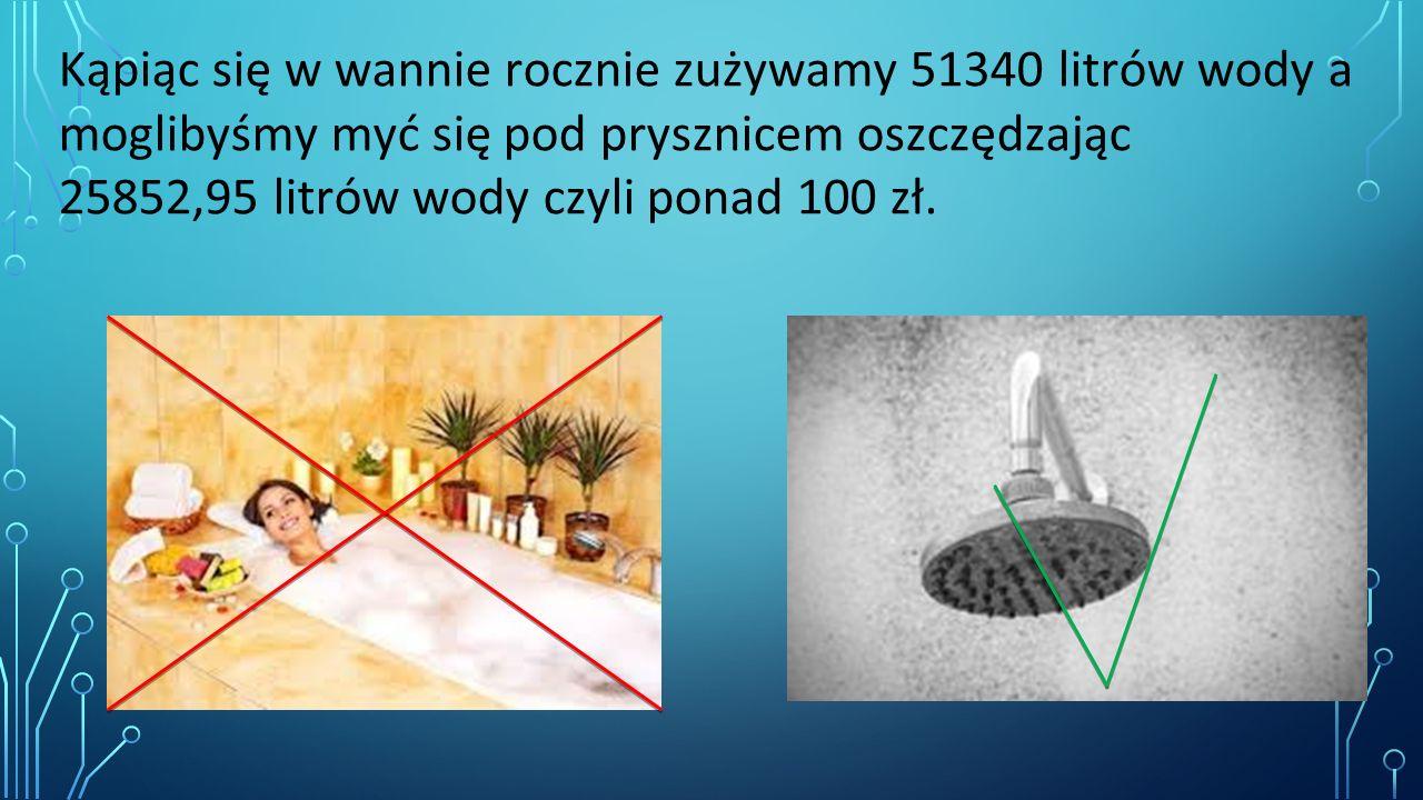 Kąpiąc się w wannie rocznie zużywamy 51340 litrów wody a moglibyśmy myć się pod prysznicem oszczędzając 25852,95 litrów wody czyli ponad 100 zł.
