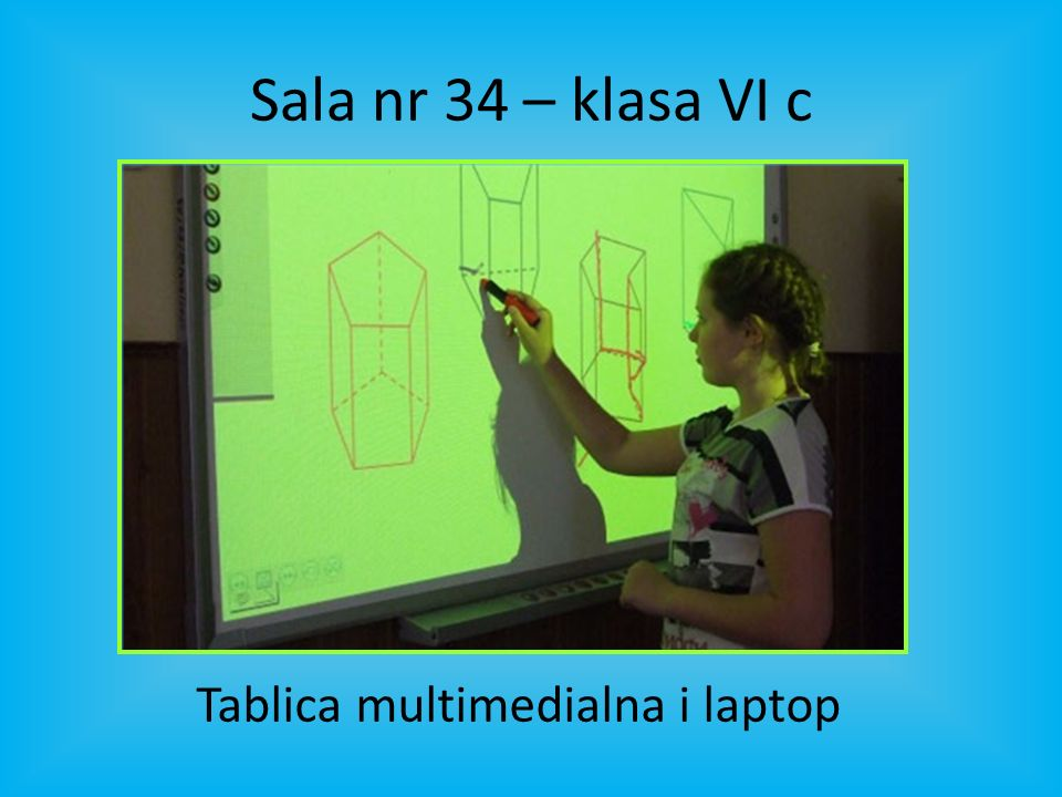 Sala nr 34 – klasa VI c Tablica multimedialna i laptop