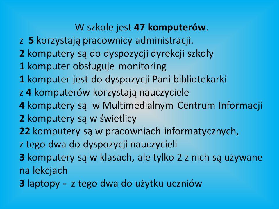 W szkole jest 47 komputerów. z 5 korzystają pracownicy administracji.
