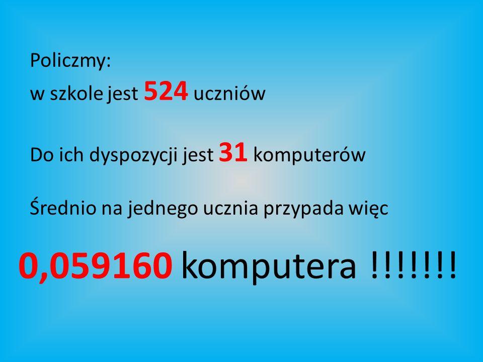 Policzmy: w szkole jest 524 uczniów Do ich dyspozycji jest 31 komputerów Średnio na jednego ucznia przypada więc 0,059160 komputera !!!!!!!