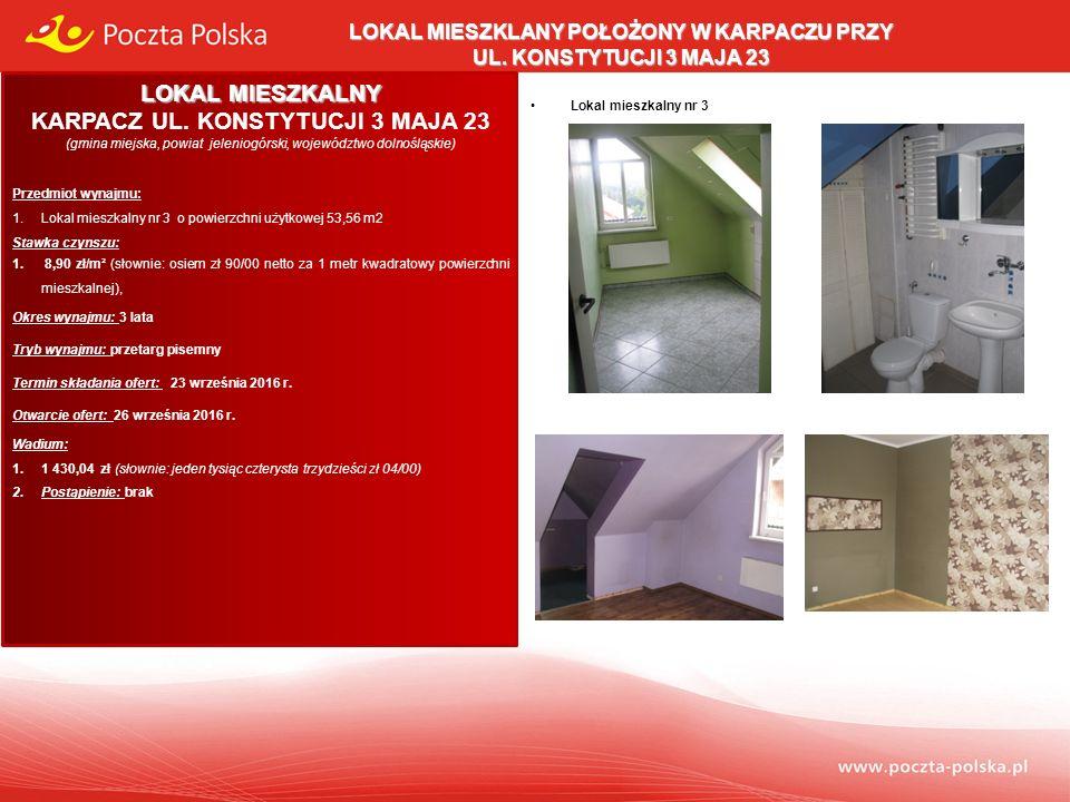 Opis przedmiotu wynajmu: Lokal mieszkalny usytuowany jest na II piętrze budynku stanowiącego własność Poczty Polskiej S.A.