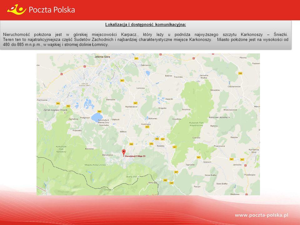 Lokalizacja i dostępność komunikacyjna: Nieruchomość położona jest w górskiej miejscowości Karpacz., który leży u podnóża najwyższego szczytu Karkonoszy – Śnieżki.