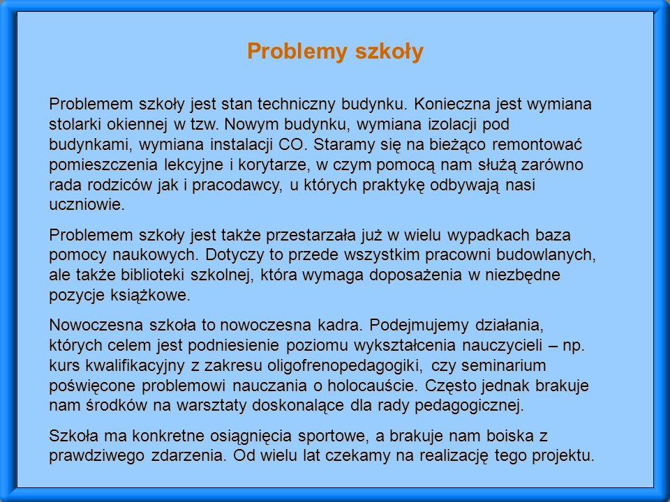 Problemy szkoły Problemem szkoły jest stan techniczny budynku.