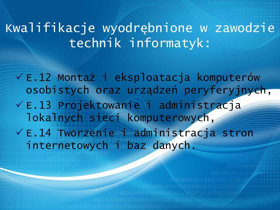 E.12 Montaż i eksploatacja komputerów osobistych oraz urządzeń peryferyjnych, E.13 Projektowanie i administracja lokalnych sieci komputerowych, E.14 Tworzenie i administracja stron internetowych i baz danych.