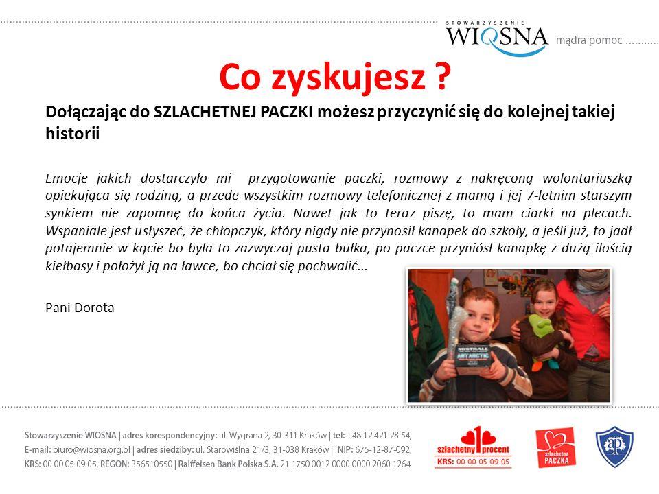Wesprzyj PACZKĘ w inny sposób Zostań dobroczyńcą SZLACHETNEJ PACZKI i wpłać darowiznę korzystając z internetowego formularza na www.szlachetnapaczka.pl lub na konto PKO BP 22 1020 2892 0000 5802 0469 5146www.szlachetnapaczka.pl Wyślij SMS o treści PACZKA pod numer 75465 Operatorzy telefonii komórkowej zrzekli się całości przychodów z SMS-ów.