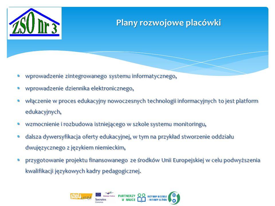 Plany rozwojowe placówki  wprowadzenie zintegrowanego systemu informatycznego,  wprowadzenie dziennika elektronicznego,  włączenie w proces edukacyjny nowoczesnych technologii informacyjnych to jest platform edukacyjnych,  wzmocnienie i rozbudowa istniejącego w szkole systemu monitoringu,  dalsza dywersyfikacja oferty edukacyjnej, w tym na przykład stworzenie oddziału dwujęzycznego z językiem niemieckim,  przygotowanie projektu finansowanego ze środków Unii Europejskiej w celu podwyższenia kwalifikacji językowych kadry pedagogicznej.