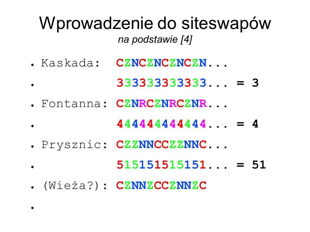 Wprowadzenie do siteswapów na podstawie [4] ● Kaskada: CZNCZNCZNCZN...