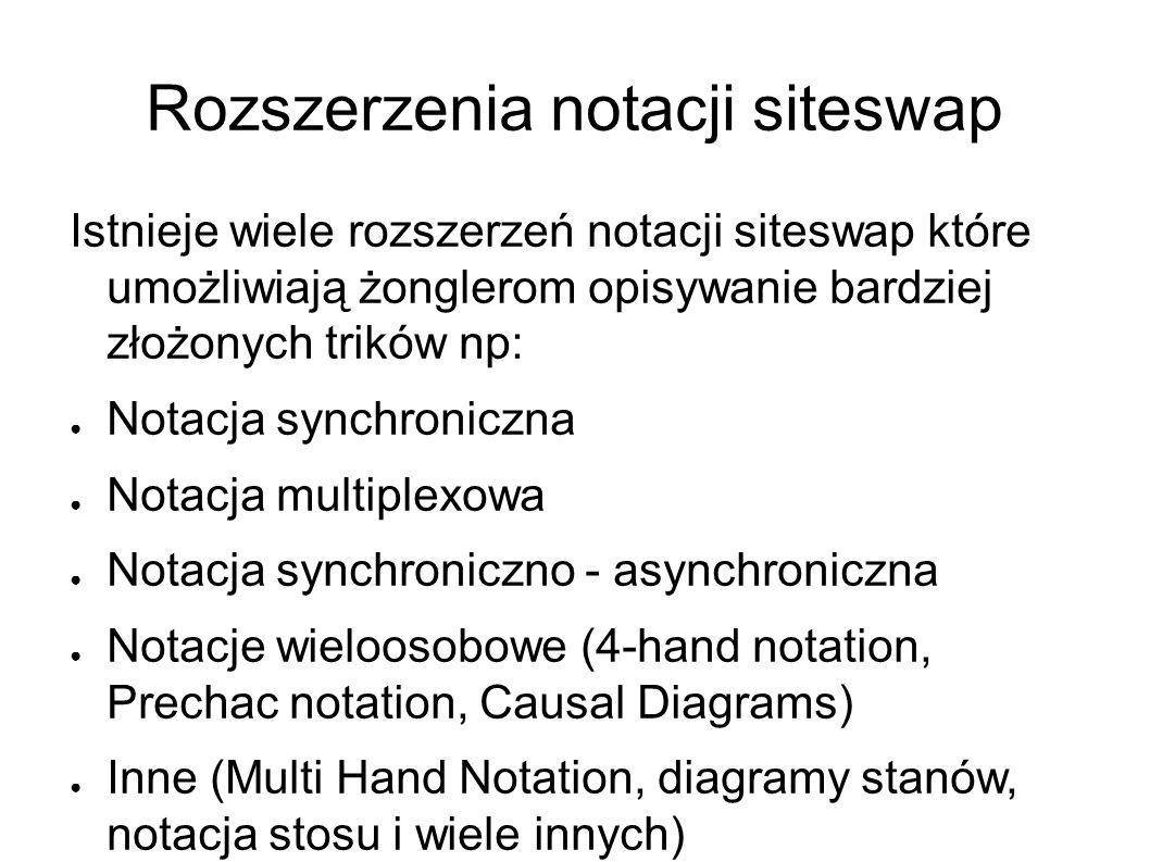 Rozszerzenia notacji siteswap Istnieje wiele rozszerzeń notacji siteswap które umożliwiają żonglerom opisywanie bardziej złożonych trików np: ● Notacja synchroniczna ● Notacja multiplexowa ● Notacja synchroniczno - asynchroniczna ● Notacje wieloosobowe (4-hand notation, Prechac notation, Causal Diagrams) ● Inne (Multi Hand Notation, diagramy stanów, notacja stosu i wiele innych)
