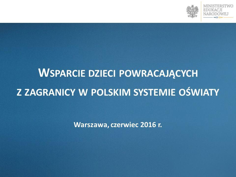 W SPARCIE DZIECI POWRACAJĄCYCH Z ZAGRANICY W POLSKIM SYSTEMIE OŚWIATY Warszawa, czerwiec 2016 r.