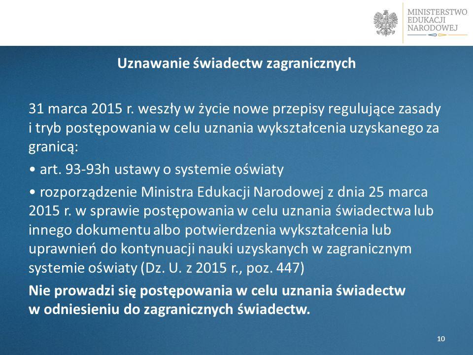 Uznawanie świadectw zagranicznych 31 marca 2015 r. weszły w życie nowe przepisy regulujące zasady i tryb postępowania w celu uznania wykształcenia uzy