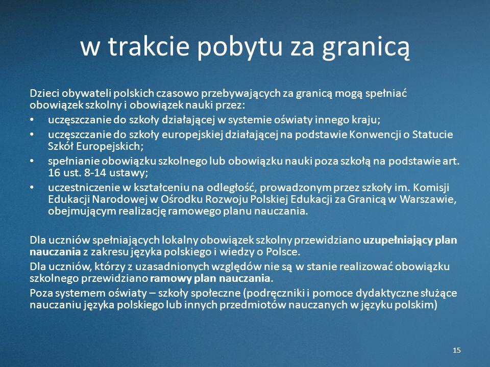 w trakcie pobytu za granicą Dzieci obywateli polskich czasowo przebywających za granicą mogą spełniać obowiązek szkolny i obowiązek nauki przez: uczęs