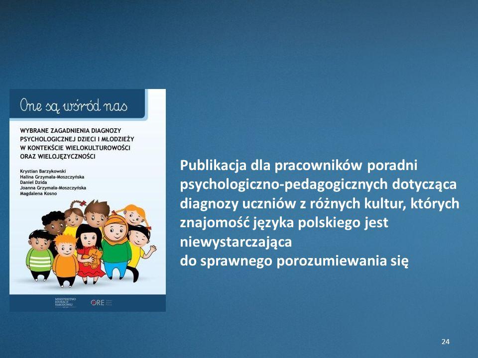 24 Publikacja dla pracowników poradni psychologiczno-pedagogicznych dotycząca diagnozy uczniów z różnych kultur, których znajomość języka polskiego jest niewystarczająca do sprawnego porozumiewania się