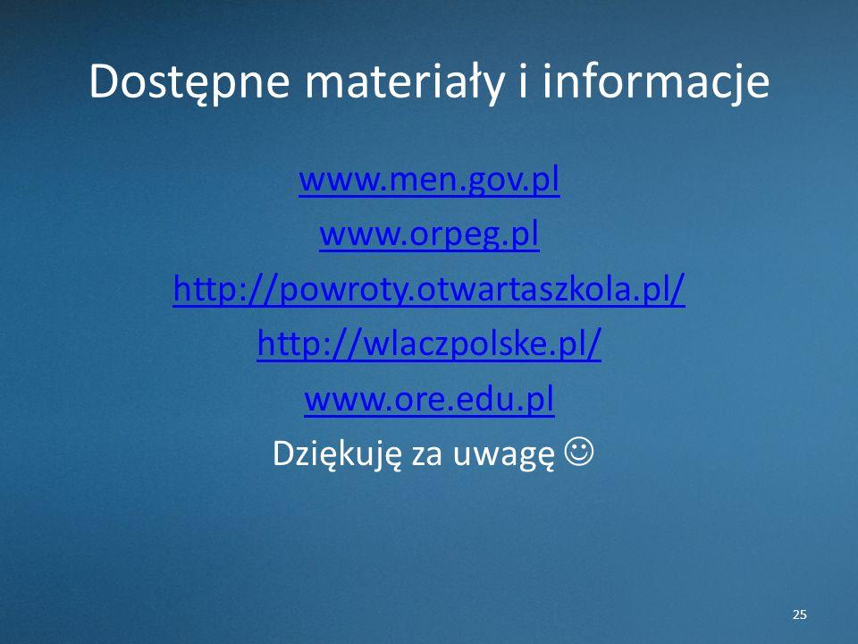 Dostępne materiały i informacje www.men.gov.pl www.orpeg.pl http://powroty.otwartaszkola.pl/ http://wlaczpolske.pl/ www.ore.edu.pl Dziękuję za uwagę 25