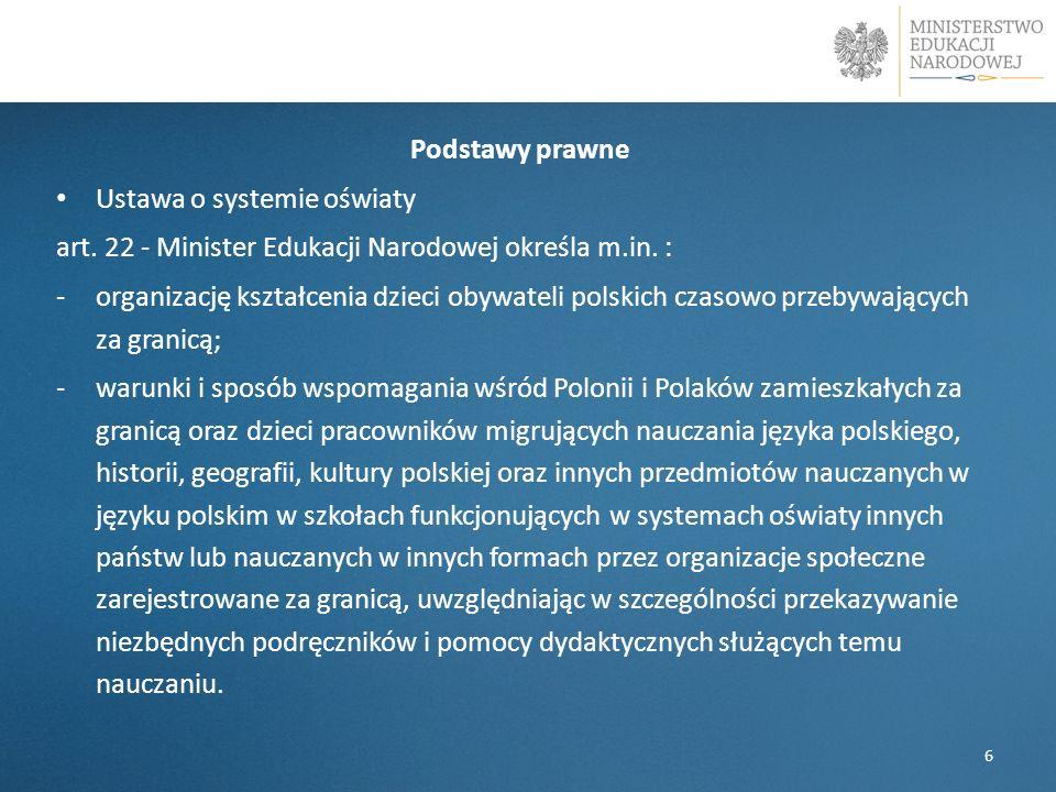 l Podstawy prawne Ustawa o systemie oświaty art.22 - Minister Edukacji Narodowej określa m.in.