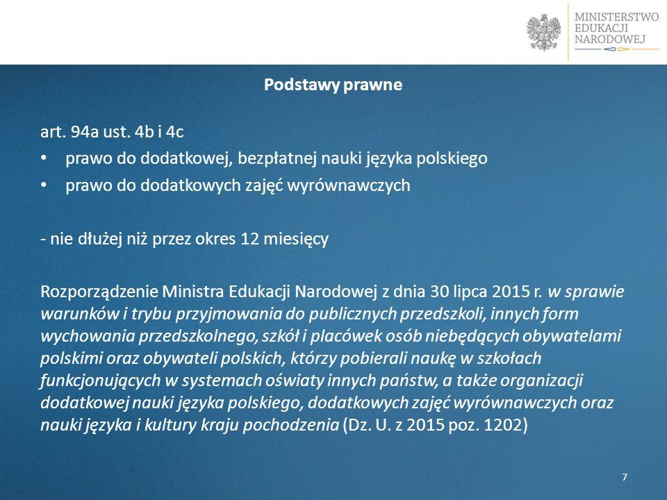Podstawy prawne art. 94a ust. 4b i 4c prawo do dodatkowej, bezpłatnej nauki języka polskiego prawo do dodatkowych zajęć wyrównawczych - nie dłużej niż