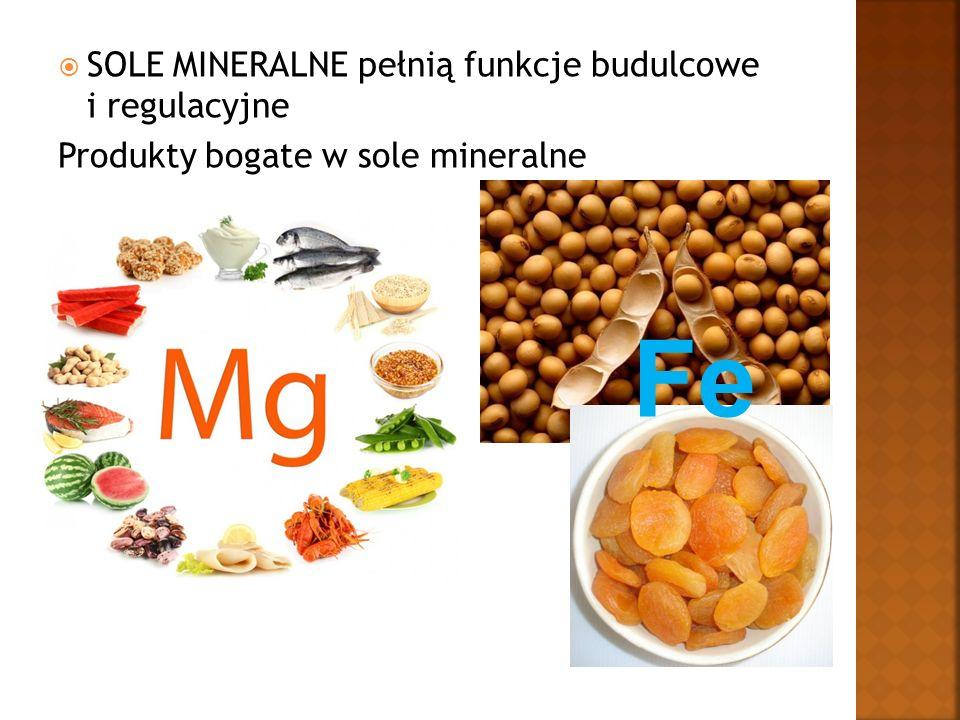  SOLE MINERALNE pełnią funkcje budulcowe i regulacyjne Produkty bogate w sole mineralne Fe