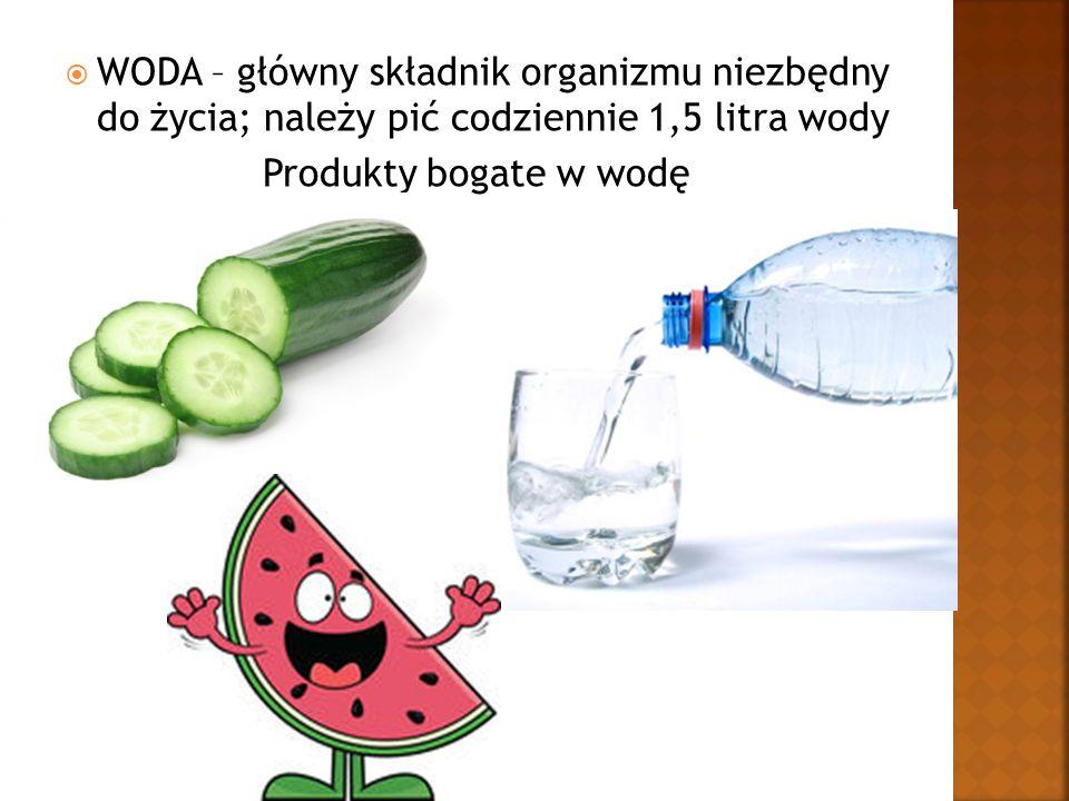  WODA – główny składnik organizmu niezbędny do życia; należy pić codziennie 1,5 litra wody Produkty bogate w wodę