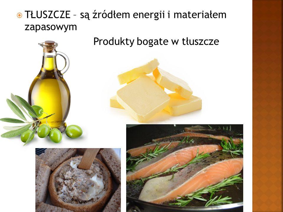  TŁUSZCZE – są źródłem energii i materiałem zapasowym Produkty bogate w tłuszcze