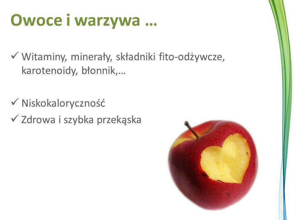 Owoce i warzywa … Witaminy, minerały, składniki fito-odżywcze, karotenoidy, błonnik,… Niskokaloryczność Zdrowa i szybka przekąska
