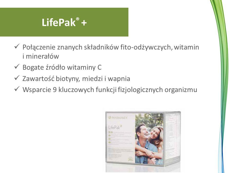 LifePak ® + Połączenie znanych składników fito-odżywczych, witamin i minerałów Bogate źródło witaminy C Zawartość biotyny, miedzi i wapnia Wsparcie 9 kluczowych funkcji fizjologicznych organizmu