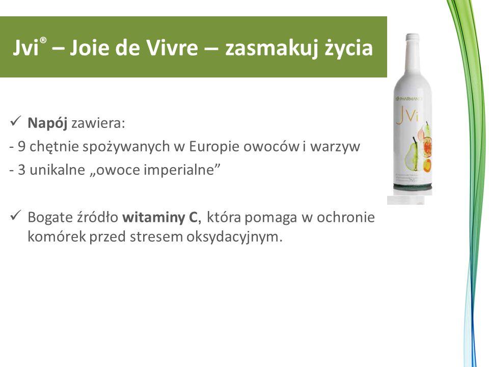 """Jvi ® – Joie de Vivre – zasmakuj życia Napój zawiera: - 9 chętnie spożywanych w Europie owoców i warzyw - 3 unikalne """"owoce imperialne Bogate źródło witaminy C, która pomaga w ochronie komórek przed stresem oksydacyjnym."""