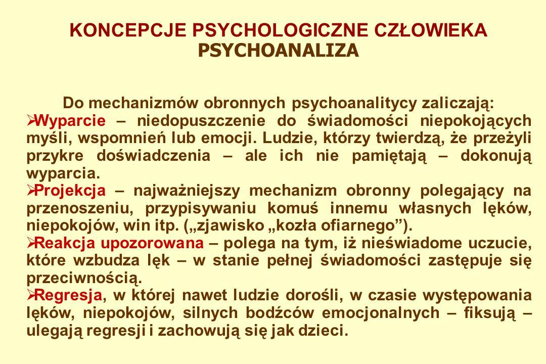 KONCEPCJE PSYCHOLOGICZNE CZŁOWIEKA PSYCHOANALIZA Najważniejsze znaczenie dla ludzkich zachowań ma jego sfera intrapsychiczna – ruch sił psychicznych w umyśle.