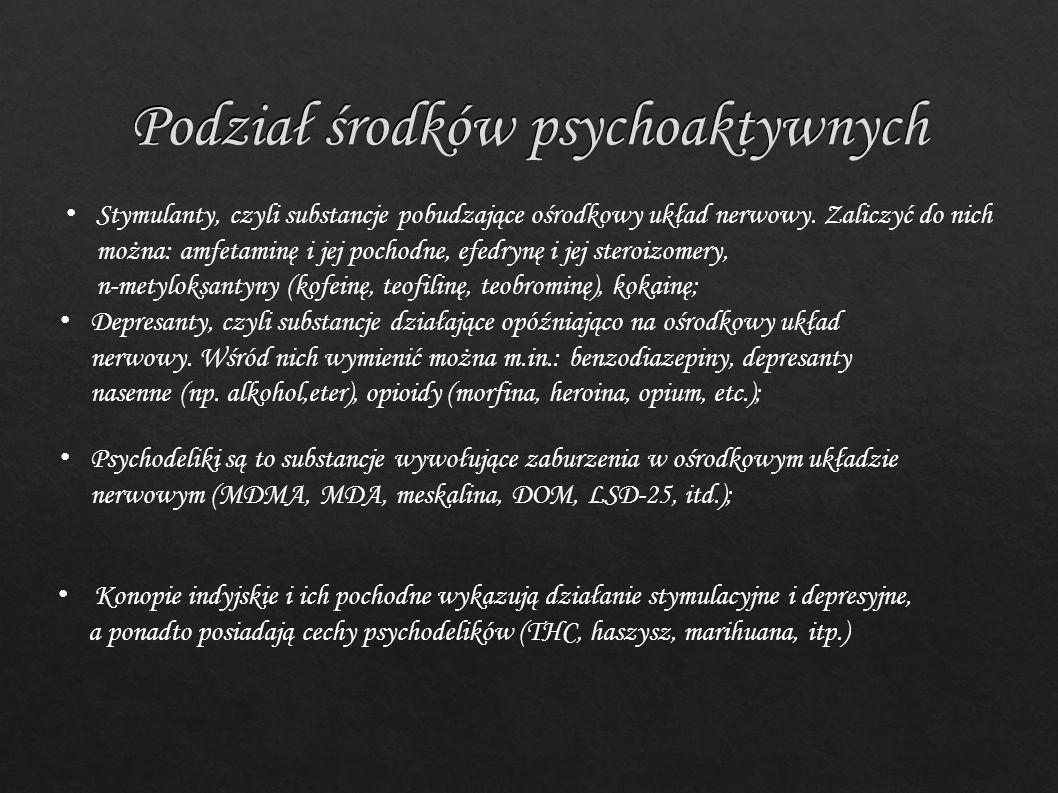 Podział środków psychoaktywnych Stymulanty, czyli substancje pobudzające ośrodkowy układ nerwowy. Zaliczyć do nich można: amfetaminę i jej pochodne, e