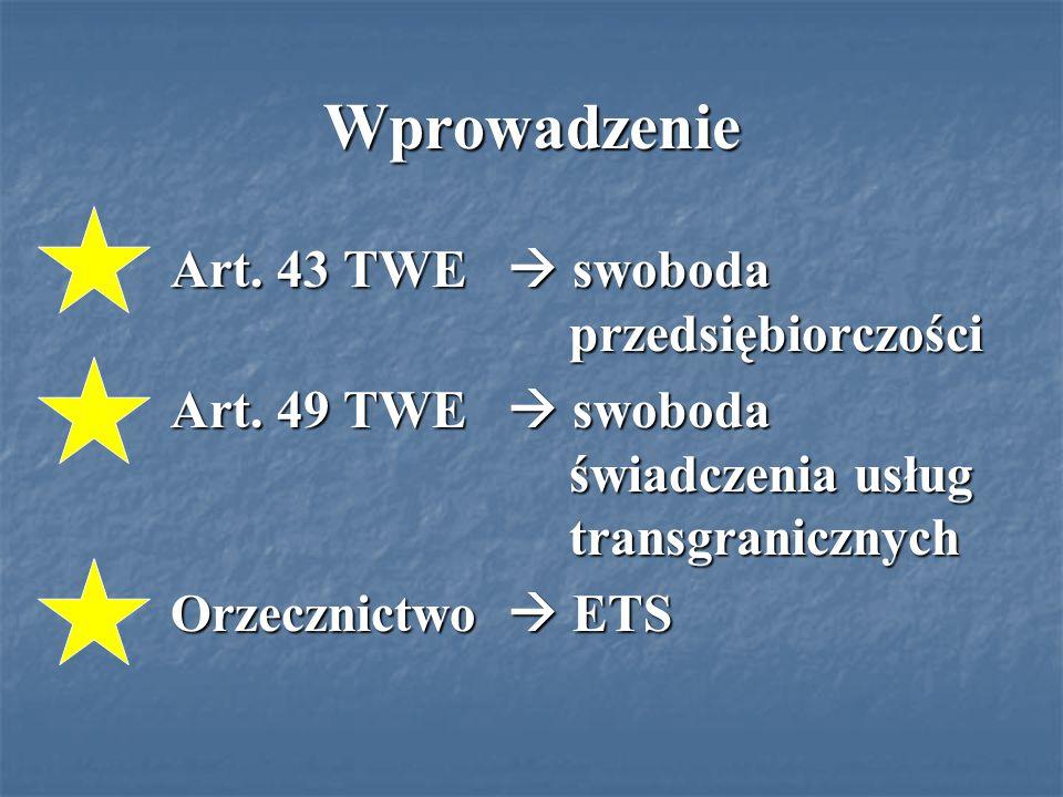 Wprowadzenie Art. 43 TWE  swoboda przedsiębiorczości Art.