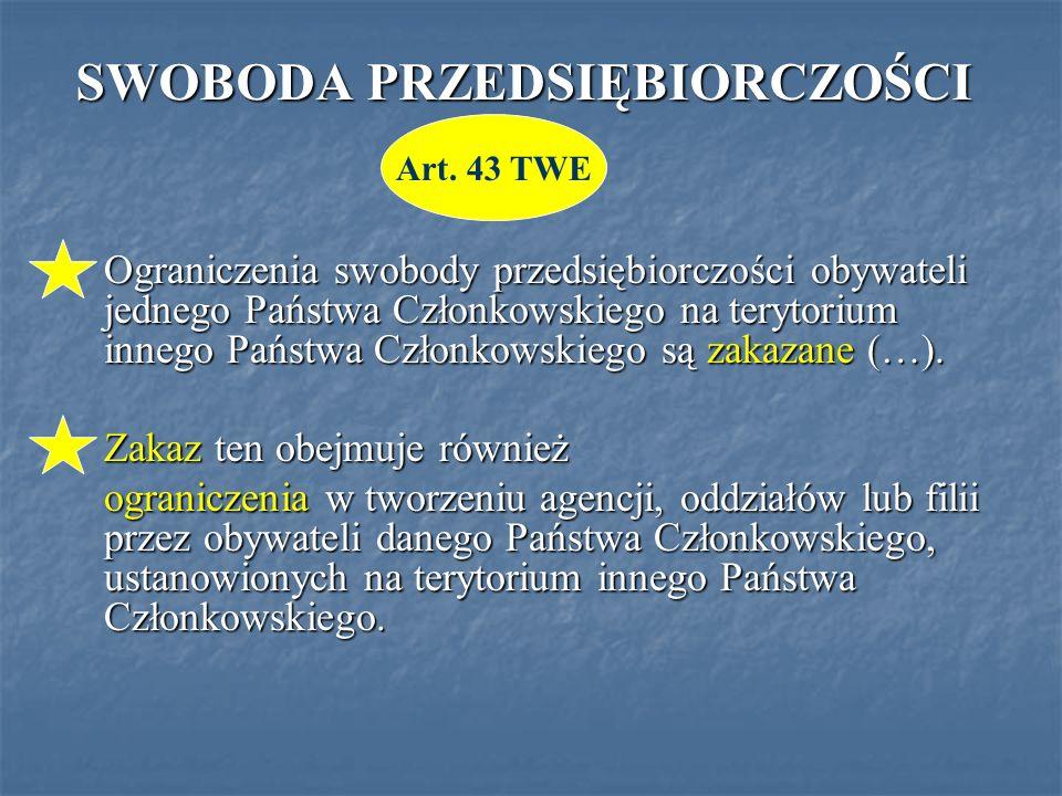 SWOBODA PRZEDSIĘBIORCZOŚCI Ograniczenia swobody przedsiębiorczości obywateli jednego Państwa Członkowskiego na terytorium innego Państwa Członkowskiego są zakazane (…).