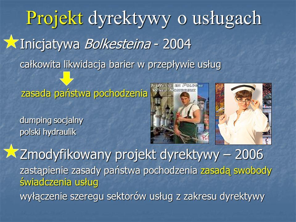Projekt dyrektywy o usługach Inicjatywa Bolkesteina - 2004 całkowita likwidacja barier w przepływie usług całkowita likwidacja barier w przepływie usług zasada państwa pochodzenia zasada państwa pochodzenia dumping socjalny dumping socjalny polski hydraulik polski hydraulik Zmodyfikowany projekt dyrektywy – 2006 zastąpienie zasady państwa pochodzenia zasadą swobody świadczenia usług zastąpienie zasady państwa pochodzenia zasadą swobody świadczenia usług wyłączenie szeregu sektorów usług z zakresu dyrektywy wyłączenie szeregu sektorów usług z zakresu dyrektywy