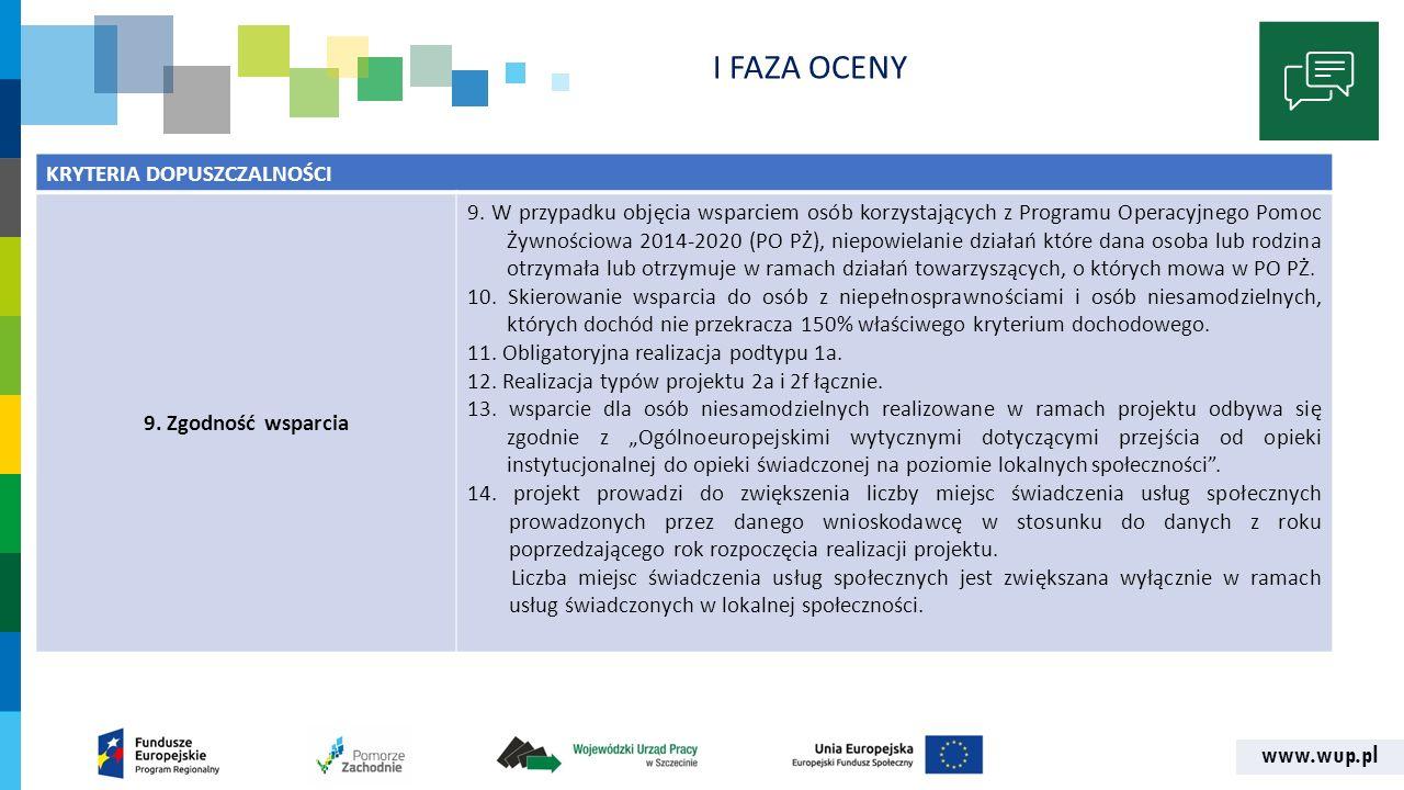 www.wup.pl I FAZA OCENY KRYTERIA DOPUSZCZALNOŚCI 9.