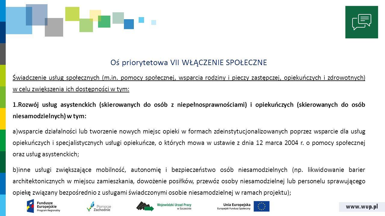 www.wup.pl Oś priorytetowa VII WŁĄCZENIE SPOŁECZNE Świadczenie usług społecznych (m.in.